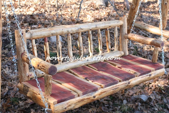 4 Rustic Cedar Log Spindle Back Porch Swing By Povertygulch