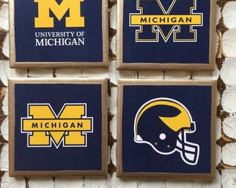 COASTERS!!!! GO BLUE University of Michigan ceramic coasters with gold trim