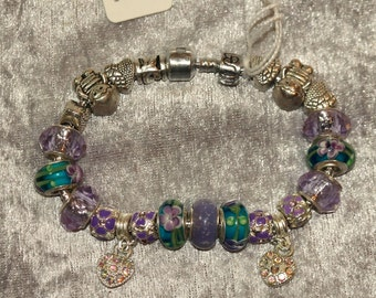 European Style Charm Bracelet in Mauve, Violet, and Deep Turquoise