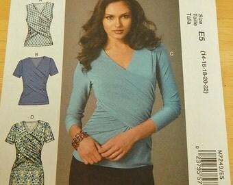 McCalls 7249 Misses Plus Size Tops & Dress Sewing Pattern Brand New Uncut Sizes 14 - 22