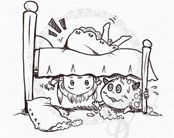 Monster Under the Bed DIGITAL STAMP Instant Download