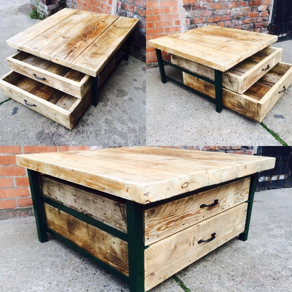 Industrial Tv Stand And Coffee Table: Industrial Chic Style Reclaimed Custom Coffee Table Tv Unit