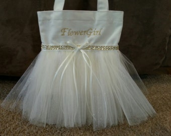 Gold & Ivory Flower Girl bag, Gold glitter tulle, Gold embroidery, Flower Girl tutu bag,  Ivory bag!