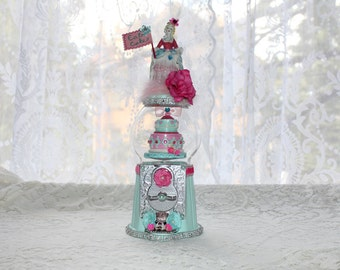 Marie Antoinette / Paris / French Bubblegum Machine Assemblage Art  - Aqua and Pink Let Them Eat Cake Centerpiece or Cake Topper