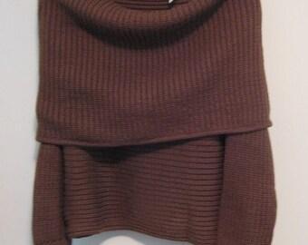 Vintage 1980s Donna Karan Brown Knit Off The Shoulder Sweater
