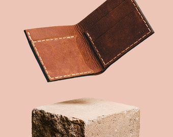 Handmade leather wallet brown