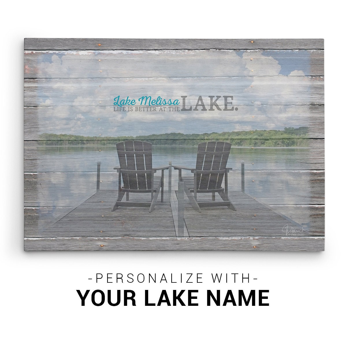 Personalized Lake House Decor Canvas Wall Art Customized With