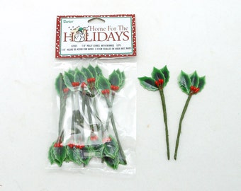 Green Holly Leaves  with Red Berries - Lacquered - 7/8 inches - 12 pieces