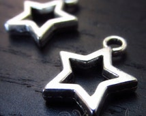 Star Charm Pendants - 10/20/50 Wholesale Silver Plated Charm Findings C4057