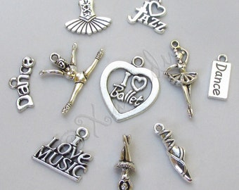 Dance Charms 10PCs Mix - 10/20/50 Ballet Jazz Music Pendant Findings CM9764