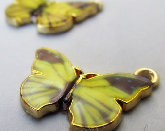 Yellow Butterfly Charms - 2/5/10 Wholesale Gold Plated Enamel Pendant Findings C2590