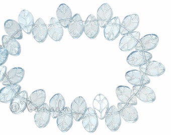 Glass Leaves - 20/50/100 Wholesale Gray Blue Luster Glass Leaf  Beads For Jewelry Making G3305