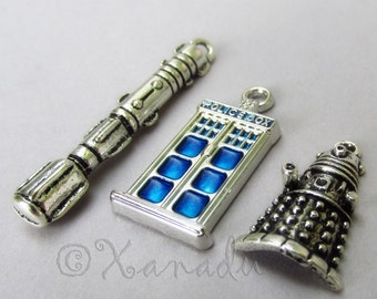 Doctor Who Tardis, Sonic Screwdriver And Dalek Charm Pendants Mix - 3/15/30 Wholesale Silver Plated Jewelry Findings CM2009