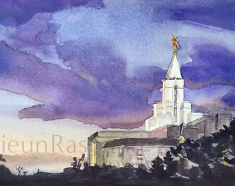 Bountiful temple- Original watercolor giclee print, LDS bountiful temple, landscape