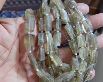 1 Strand Bio Smoky Lemon Quartz  Natural crystal shapes beads 10'' 18. grams 8X12 12X17 MM
