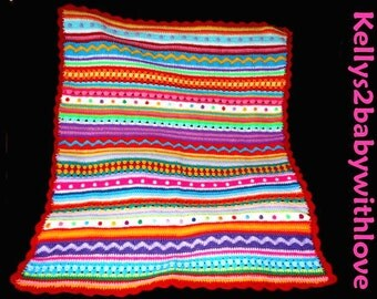 Handmade Mix and Match Multi-Coloured Striped Crochet Baby Blanket - Nursery - Handmade