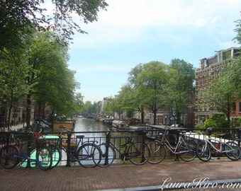 Amsterdam photography Canal Amsterdam Wall Art Wall Decor Amsterdam House Boats Amsterdam photo bicycles