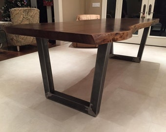 "Black walnut dining table with 3x3"" metal trapezoid legs"