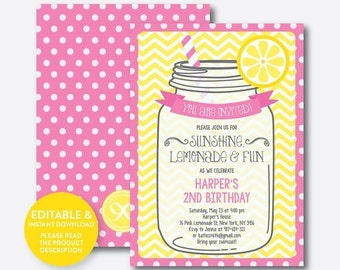 Instant Download, Editable Lemonade Birthday Invitation, Pink Lemonade Invitation, Lemonade Stand Invitation, Girl Invitation (SKB.36)