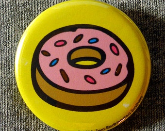 """Doughnut with Sprinkles Doodle - 1.25"""" Pinback Button (or Magnet)"""
