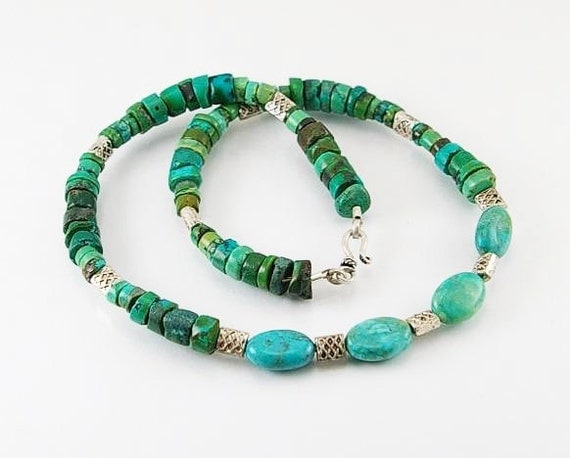 turquoise and pewter components mens necklace jewelry