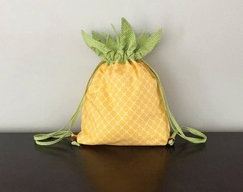 Pineapple Drawstring Backpack Pattern, includes tons of photos and step by step instructions for an easy to make drawstring backpack