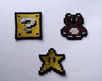 Mario power ups, Shiny Metallic Embroidery Iron On patch. Super mario bros. Pixelart. Star. Tanooki.