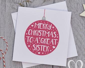 Sister Christmas Card – Bauble, Sis Christmas Card, Sister Christmas Cards, Sister Xmas Card, Sis Xmas Card, Sis Xmas Cards, Card for Her