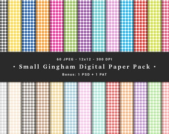 Small Gingham Digital Paper Pack - 60 JPEG - 12x12 - 300 Dpi - Bonus: 1 PSD + 1 PAT