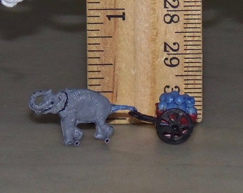 Elephant Pulling Cart for 1:12th Dollhouse.  Toy