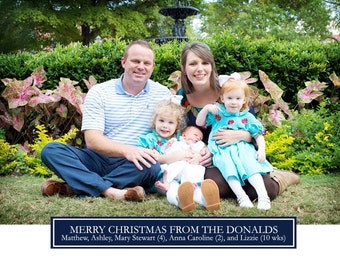 Simple Navy Christmas Cards-FREE SHIPPING or DIY printable