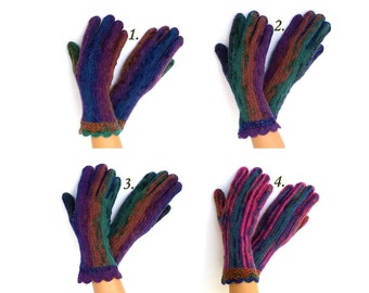 Gloves with Fingers Blue Purple Green Brown Gloves with Fingers Women's Gloves with FingersGirl's Finger Gloves Crochet Gloves Soft Gloves