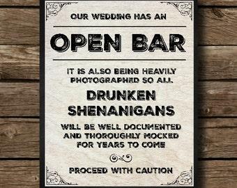 Open Bar - Wedding, Wood Background, Wedding Bar, Wedding Sign, Rustic Wedding, Digital Download, Wedding Print, Wedding Art, Drinking, Bar