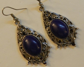 Purple Stone and Crystal Antique Silver earrings V2