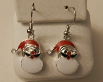 Snowman Christmas Holiday Silver Earrings V2