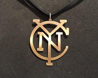 NYCFC New York City Football Club Logo Hand-Cut Brass Pendant