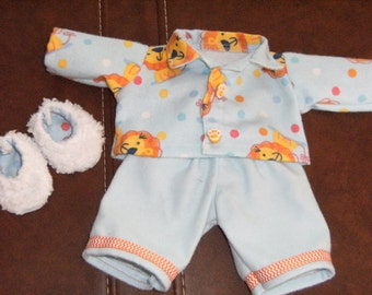 "NEW 11"" Cabbage Patch 3 pc. NEWBORN Doll Clothes~Pajamas/PJ's & Slippers~Baby Lions"