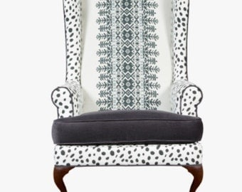 CARLOS Chair ... Black and white aztec print wing chair in your choice of color