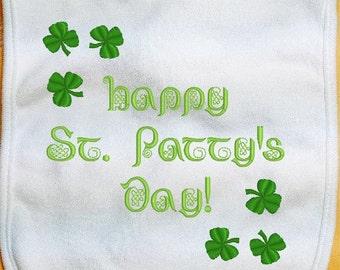 St. Patrick's Day Baby Bib, Happy St. Patty's Day Baby Bib, Irish Baby Bib, custom bib, infant baby bib, girl bib, boy bib, handmade bib