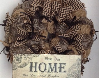 Black & Burlap Mesh Wreath