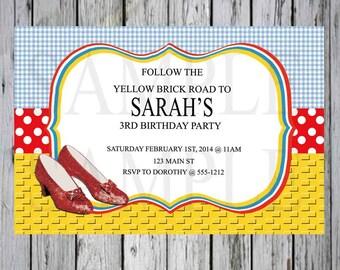 Wizard of Oz Birthday invitation-Dorothy Birthday invitation-Printable birthday invitation- Wizard of Oz Party Supplies-Wizard of Oz Party