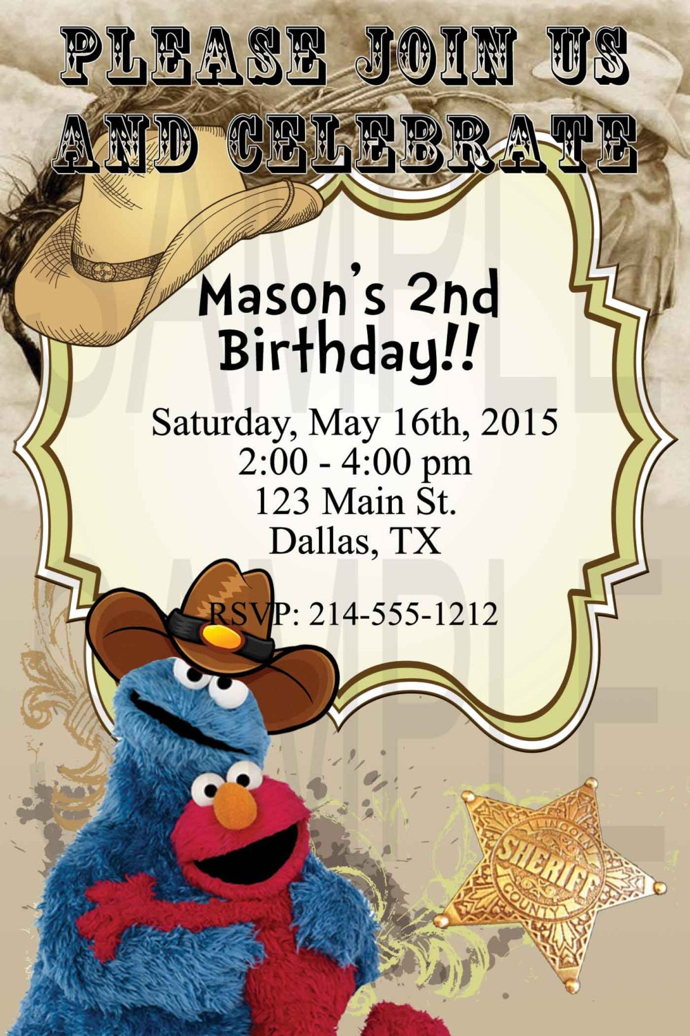 Elmo and Cookie Monster Birthday Custom Invitation Country Style ...