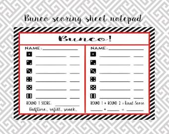 Bunco scoring sheet, Bunco tally sheet, Bunco notepad, bunco sheet, bunko score, dice game