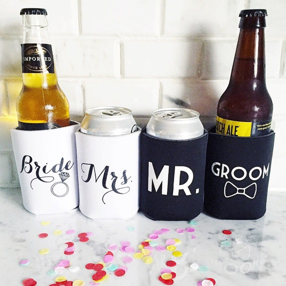 Bride and groom hugger, mr and mrs huggie, wedding can cooler, wedding gift, bride to be drink sleeve, bride can cooler, groom can cooler