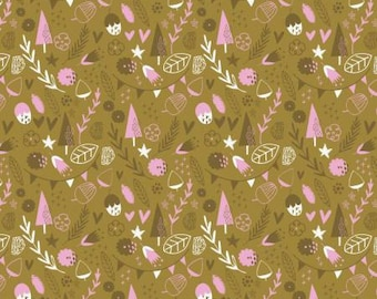 Woodland Fabric - Fabric by the Yard - Fat Quarter - Modern Fabric - Quilt Fabric - Hello My Deer  - Little Treasures in Olive - Sale Fabric