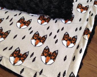 Minky Baby Blanket- Fox Faces, Adult Minky Throw, Adult Minky Blanket, Toddler Blanket