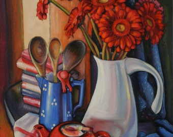 Kitchen corner with red gerberas; Original oil painting