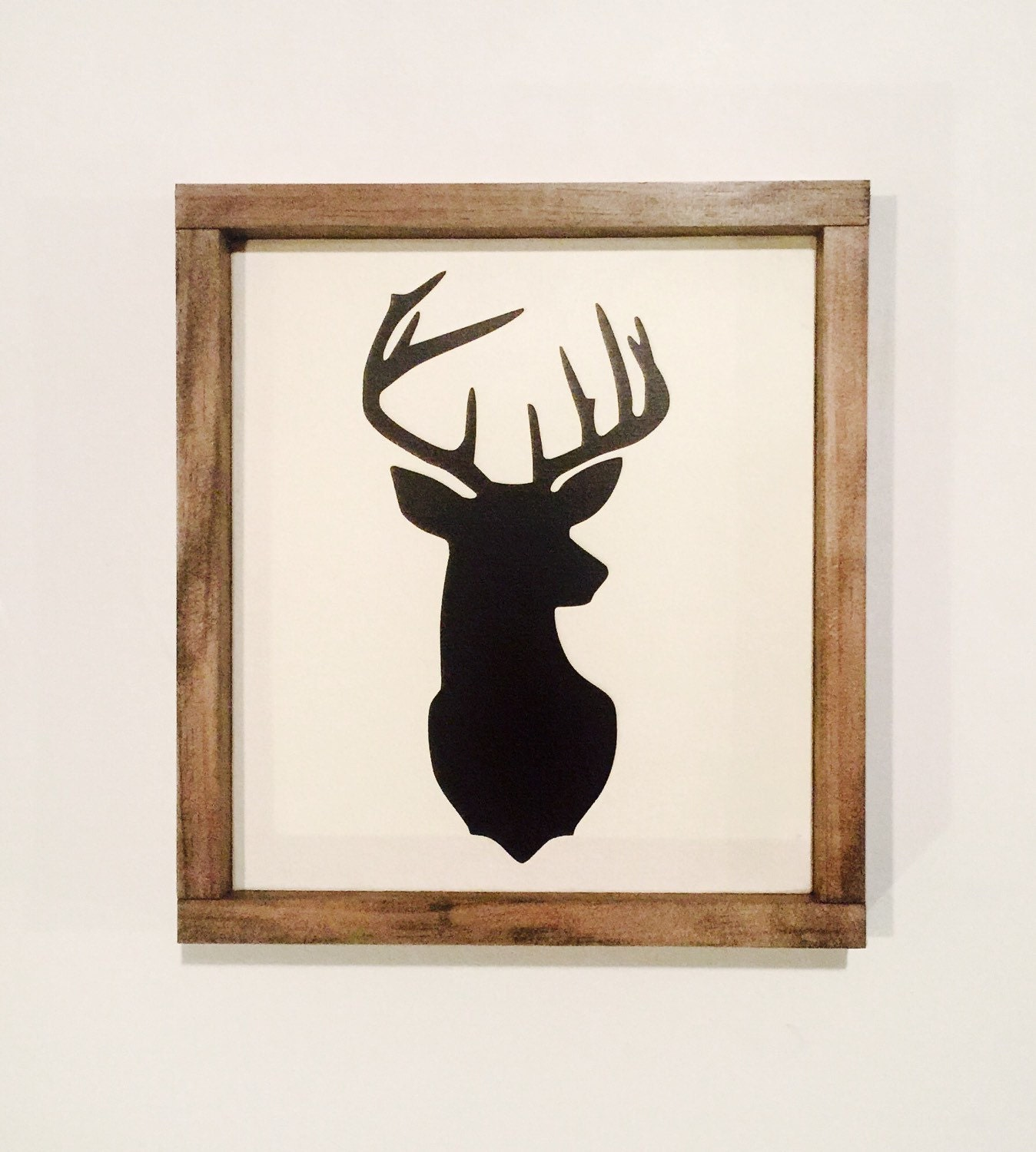 Wall Art Of Deer : Framed deer sign wood wall art