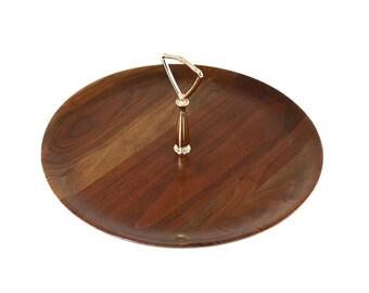 Wooden Dessert Tray, Vermillion Walnut Sandwich Server, Gold Post Handle