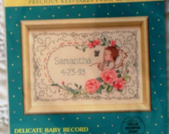 NEW BabyHugs Precious Keepsakes from Sunset ... Delicate Baby Record by Elizabeth James ... Counted Cross Stitch Kit